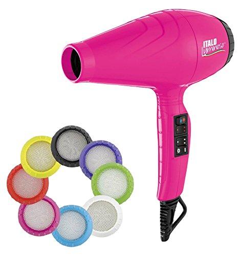 Babyliss Pro - Secador luminoso ionico, 6 ajustes de calor y velocidad, 2100 W, color rosa