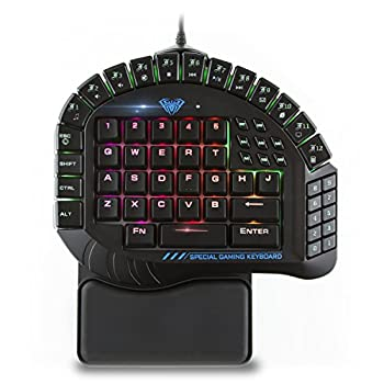 Beastron Aula Excalibur One Handed Mechanical Gaming Keyboard Blue Switches Software Customizable RGB Backlit Effects 8 Programmable Macro Keys and Removable Wrist Rest