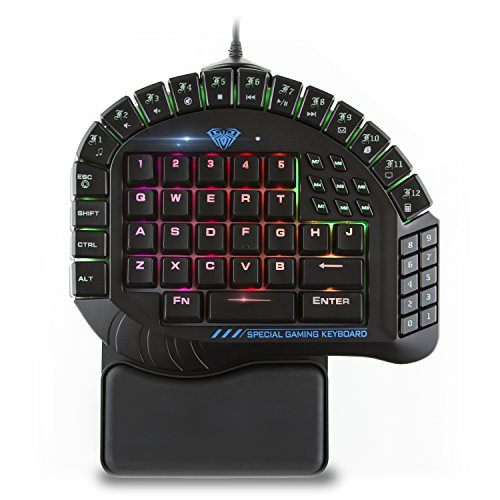 AULA Excalibur One Handed Mechanical Gaming Keyboard, Blue Switches, Software Customizable RGB Backlit Effects, 8 Programmable Macro Keys, and Removable Wrist Rest