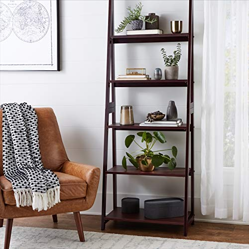Amazon Basics Modern 5-Tier Ladder Bookshelf Organizer with Solid Rubber Wood Frame, Walnut