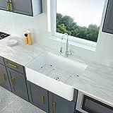 30 Farmhouse Kitchen Sink White - Logmey 30 Inch Fireclay Porcelain Ceramic Deep Single Bowl...
