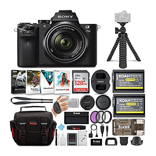 Sony Alpha a7II Mirrorless Digital Camera with 28-70mm Lens, Photo Software, Accessory Kit, SanDisk 128GB SD Card, Battery and Dual Charger, Spider Tripod and 6 Feet HDMI Cable Bundle (7 Items)