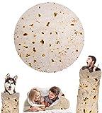 Wenosda Burrito Blanket Mantas para Tortillas Mantas Redondas para Alimentos Wrap Beach para Dormitorio Sofá al Aire Libre Four Seasons (152cm / 60in) (Estilo Black Pancake)