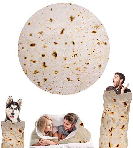 Wenosda Burrito Decke Runde Tortilla Kuscheldecke Zweiseitige Sofadecke Strandtuch Teppich Picknickdecke weich & Plüsch Umhang für Schlafzimmer, Alle Jahreszeiten(150cm/60in)(Schwarze Pfannkuchenart)
