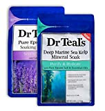 Dr Teal's Epsom Salt Bath Combo Pack (6 lbs Total), Soothe & Sleep with Lavender, and Purify & Hydrate with Deep Marine Sea Kelp