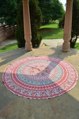 Sophia-Art Indisches Mandala-Motiv, rund, Strandtuch, Hippie-/Boho-Stil, Baumwolle, Lotusblüte, rund, Baumwolle, für den Außenbereich, Strandtuch, Roundie (roter Papagei)