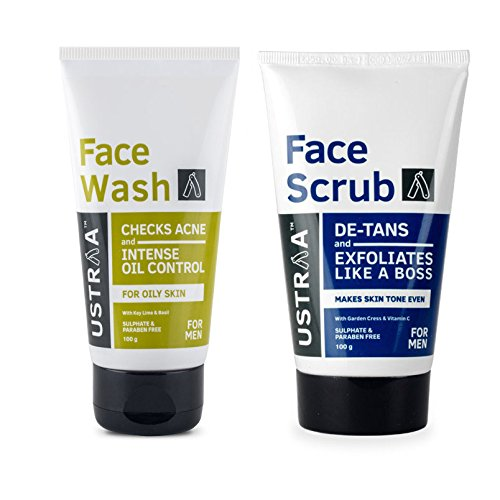 Ustraa Face Scrub -100g - De-Tan Face scrub for men, Exfoliation and tan removal with Bigger Walnut Granules, No Sulphate, No Paraben, Made in India