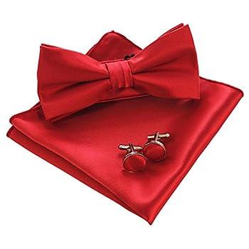JEMYGINS Mens Red Bow Tie Pre-tied Silk Bowtie and Pocket Square Cufflink Set  2