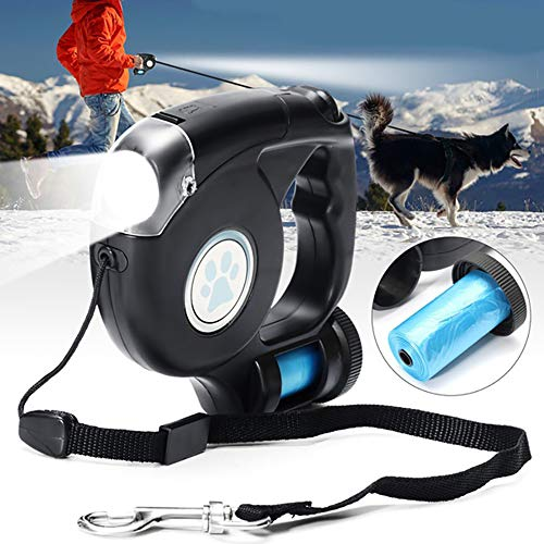 Hundeleine einziehbar LED Licht,4.5m lang Große Hunde Halten Sie 45 kg Spannung aus für Spaziergänge bei Nacht, Laufen, Training, Joggen etc
