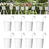 Dahey 8 Pcs Hanging Flower Pots Metal Iron Bucket Planter for Railing Fence Balcony Garden Home Decoration Flower Holders with Detachable Hooks, White