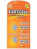 EASTCELL 2 x CR1225 3V Lithium Knopfzelle 50 mAh (1 Blistercard a 2 Batterien) EINWEG Markenware