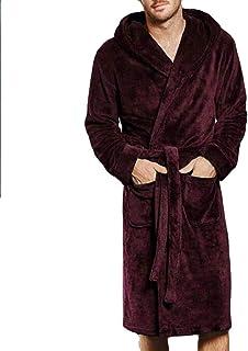 ff6155dd66 DOINSHOP Men s Plush Spa Robe Fleece Kimono Bathrobe Long Hooded ...