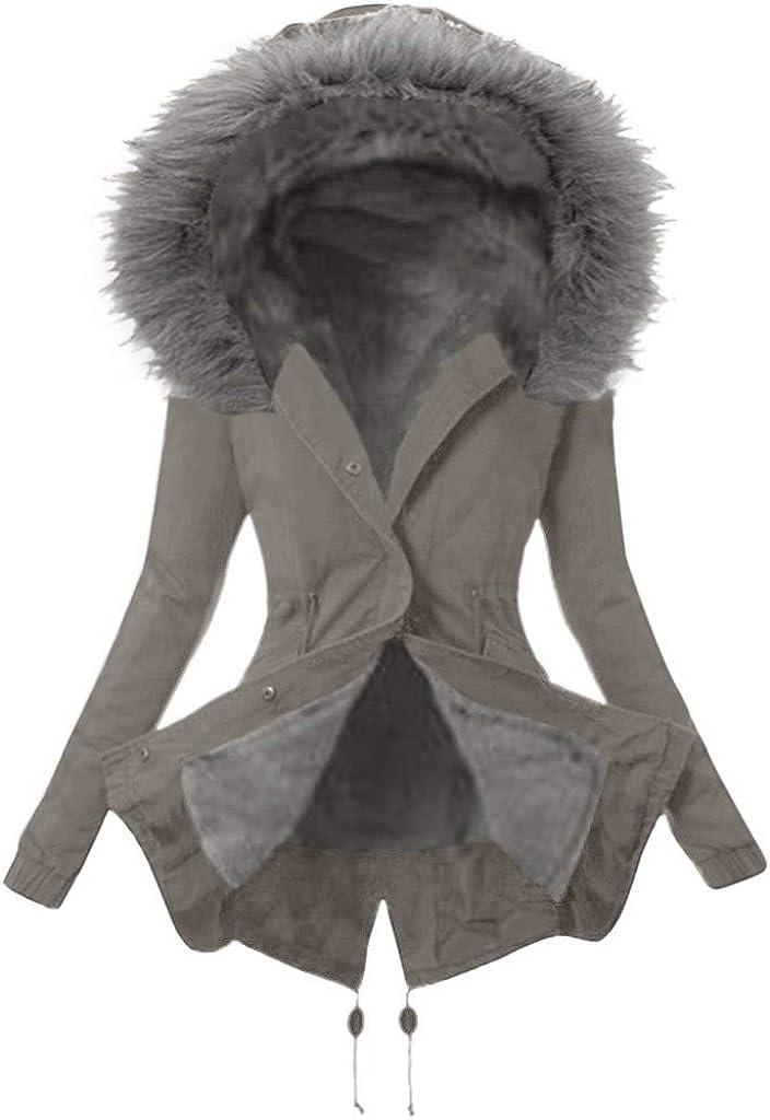 Aniywn Women 誕生日プレゼント Ladies Faux 毎日続々入荷 Fur Lining Mid Coat Warm Thick Winter L
