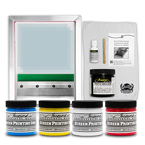 Jacquard Screen Printing Kit - Includes 4 Colors of Premium Screen Ink - Photo Emulsion - Diazo Sensitizer - Strong Alluminum Frame and Squeegee - Bundled with Moshify Print Test Cloth