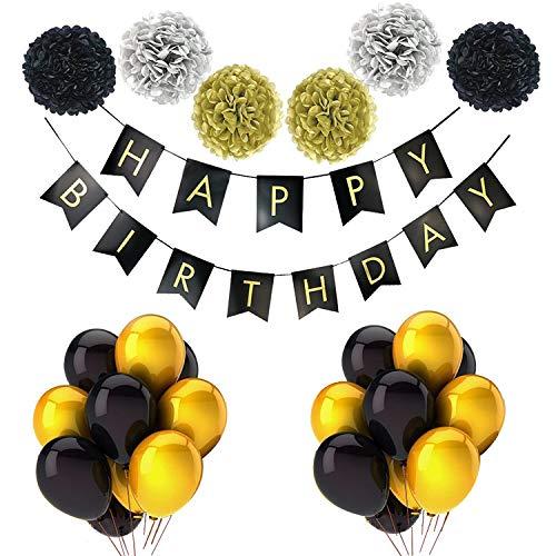 25 pcs Black, Gold & Silver Amazing Party wedding Decoration includes - tissue pom poms -Happy Birthday banner
