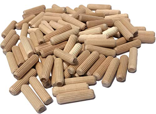 100 Pack 3/8' x 1 1/2' Wooden Dowel Pins Wood Kiln Dried Fluted...