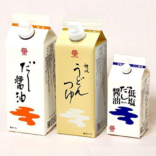 鎌田醤油うどんプチセット (だし醤油・うどんつゆ・低塩だし醤油) PU3