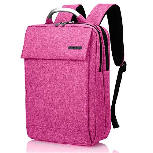 Alfheim Mochila para portátil para Hombre para Mujer de 13 a 14 Pulgadas,Impermeable&De múltiples Fines&Ligero&Portatil Simple y Elegante para Viajes de Negocios de Viajes Escolares,Rosado