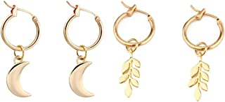 XCFS 2PCS One Set 3D Moon And Tree Leaf Tassel Dangling Earring 18K Gold Plated Leaves/ Crescent Moon Dangle Earrings