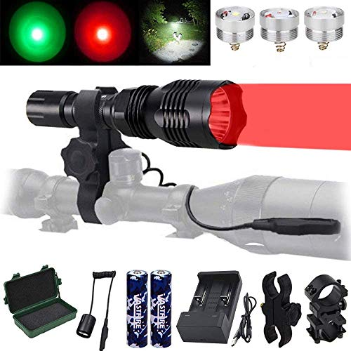 VASTFIRE Predator Light with Interchangeable (Red, Green, White) LED Hunting Flashlight with Scope Mount for Hog Coyote Coon Bobcat Raccoon Varmint Rabbit Night Hunting