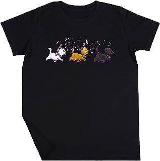Gatito Trío Niño Niña Unisexo Negro Camiseta Manga Corta Kids Black T-Shirt