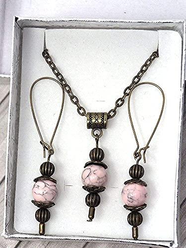 Conjunto de collar y aretes estilo vintage para mujer en turquesa reconstituida rosa