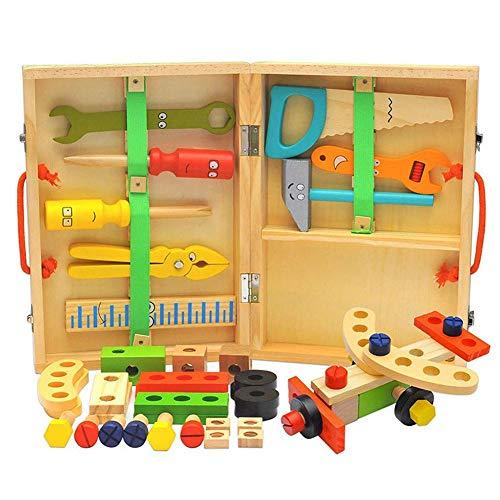 Blentude Holzwerkzeugkasten DIY Bauwerkzeug Holzwerkzeug -Box Simulation Wartungskits Früherziehung Spielzeug Für Montieren Demontieren