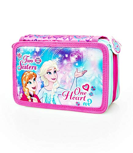 Disney Frozen 57224 Estuche 3 bisagras, Plumier Triple, 44 Piezas