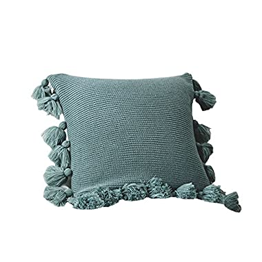 DOKOT Handmade Knitted Decorative Square Warm Throw Pillow Cover/Cushion Cover Pom Pom Lantern Tassels (Turquoise)