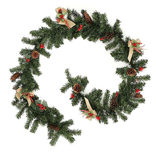 XIAOWEI DIY Christmas Garland with Pine Cones Red Berry Decorations Rattan Artificial Christmas Wreaths Tree Decoration for Christmas Tree Fireplaces Stairs Doors Christmas Tree Garden Yard Decor