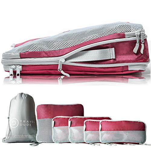 TRAVEL DUDE Organizador de Maletas con Bolsas de Compresión para Equipaje | Bolsas Organizadoras Maleta | Easy Travel | Ultra liviano (Rojo Vino, 7 Piezas)