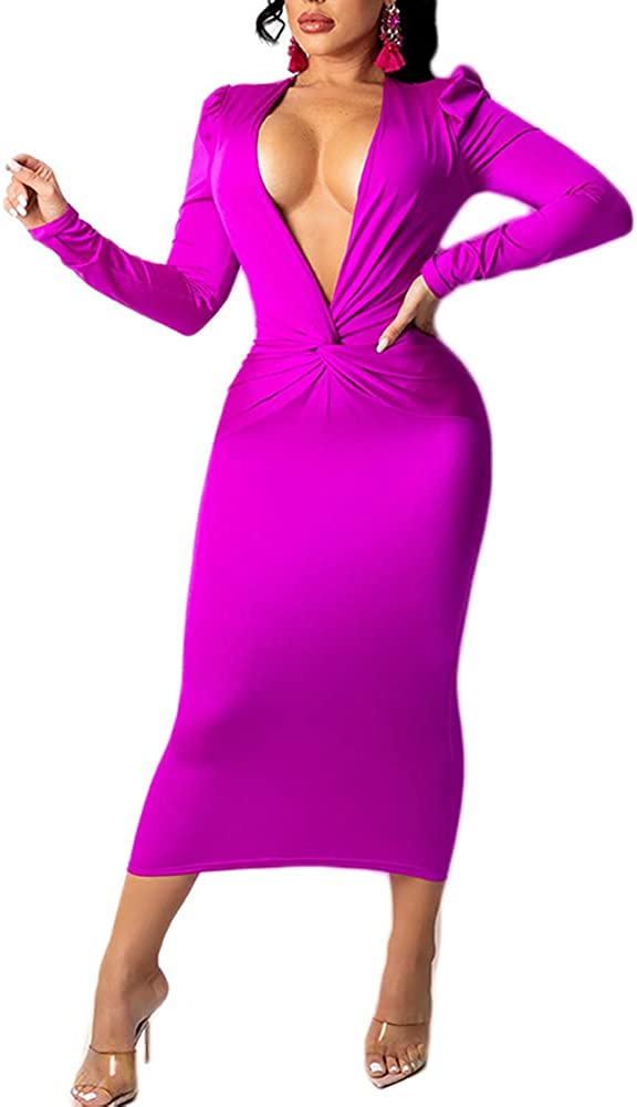 KEYUFANG Women's Sexy Long Sleeve V Neck Twist Front Bodycon Midi Dress Slim Fit Evening Party Cocktail