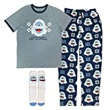 Disney Men's Rudolph The Red Nosed Reindeer 3-Piece Pajama Gift Set, Bumble The Abominable Snow Monster