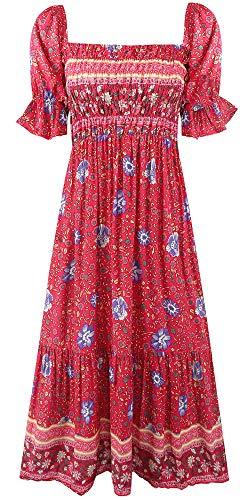 Women's Boho Vintage Puff Sleeves Midi Dress,Off Shoulder A-Line Flowy Long Dresses (Medium, Multicolor-12)
