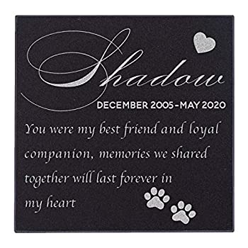 Pet Memorial Stone Personalized - Granite Cats and Dogs Grave Marker | 6 x 6 |Sympathy Poem Loss of Dog Gift Indoor - Outdoor Tombstone Headstone - Grave Marker w/Pet Name and Dates #1