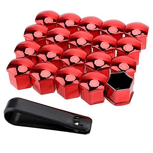 Tuercas de rueda de 19 mm, 20 piezas de tuercas de rueda de coche, tapas de protección antióxido, tuercas de coche, tuercas de llanta (color rojo)