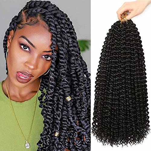 6Packs Passion Twist Hair 18Inch Water Wave Crochet Hair for Passion Twist Crochet Braiding Hair Long Bohemian Hair Braiding Passion Twist Braids Synthetic Hair Extensions (1B)