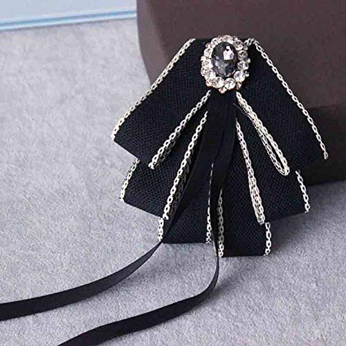 Black Bow tie Brooch for Women Christmas Party Bow Brooch for Men Ribbon Pre Tied Neck Tie Adustable Brooch Pin (black/SR118)