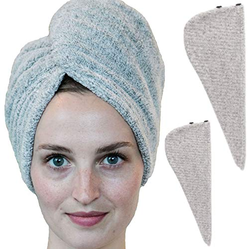 Zhenali Hair Drying Towel Wrap for Women. 2 Pack - Bamboo and Cotton Hair Towel for Drying Your Hair Naturally. Ultra- Soft, Super Absorbent Bath Turban for Thick, Long, Short or Curly Hair.
