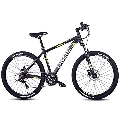 Qj Bicicletas de montaña, de 21 velocidades 26 Pulgadas Marco de Aluminio de Bicicletas de montaña Rígidas, Niños Adultos Todo Terreno Bicicletas de montaña, Bicicletas Antideslizante,Blackgreen