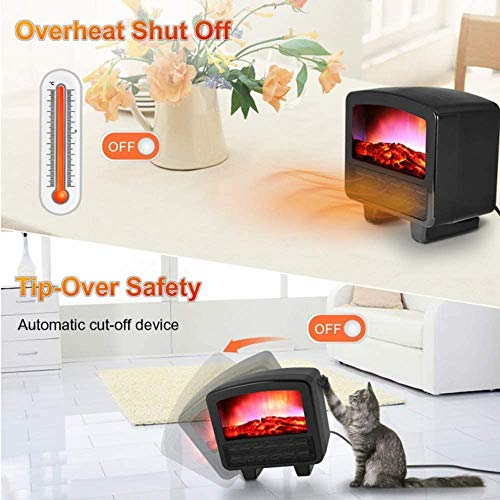 Cakunmik Tragbare Herd Heizung Mini Elektrische Kaminlampe LED Flammenlog Effekt Temperatureinstellung Überhitzung Schutz mit Fernbedienung für,B