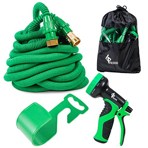 GLOUE Garden Hose Expandable Water Hose Set Double Latex Core, 3/4 Solid Brass Fittings Extra Strength Fabric Flexible Expanding Hose Prayer Nozzle (100)