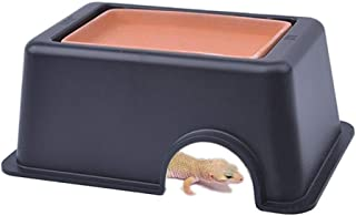 Reptile Hide Cave Box Lizards Habitat with Sink Increase Humidity and Water Supply Hideout for Lizards, Turtles, Reptiles, Amphibians, Small Snake