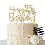Gold Happy 25th Birthday Cake Topper,Hello 25,Cheer to 25 Years, 25 & Fabulous Party Decoration