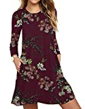 Women's Casual Floral Print Long Sleeve Simple T-Shirt Loose Dress Floral Wine Red Medium