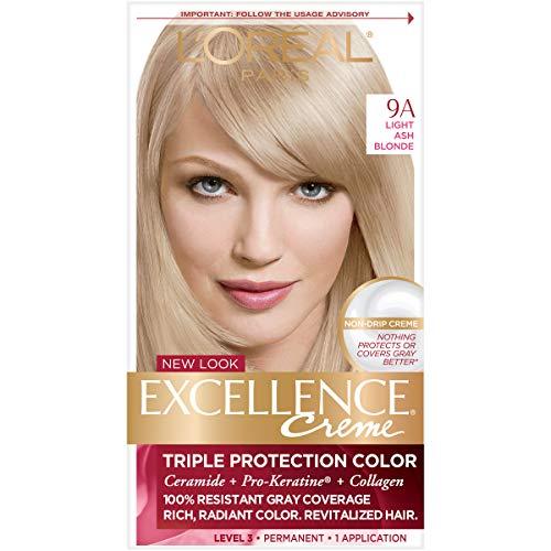 L'Oreal Crème colorante Excellence Crème - Triple protection - Enrichie en Pro-Kératine - Couleur 9A - Blond cendré clair
