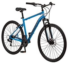 Hybrid bicycle features durable Schwinn steel frame. 21 speeds with twist shifters and Shimano rear derailleur offer quick, precise gear changes. Front disc and rear V-brake deliver superior stopping power. Alloy rims with dual sport tires are perfec...