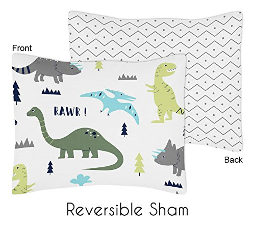 Sweet Jojo Designs Standard Pillow Sham for Blue and Green Modern Dinosaur Boys Girls Bedding Sets