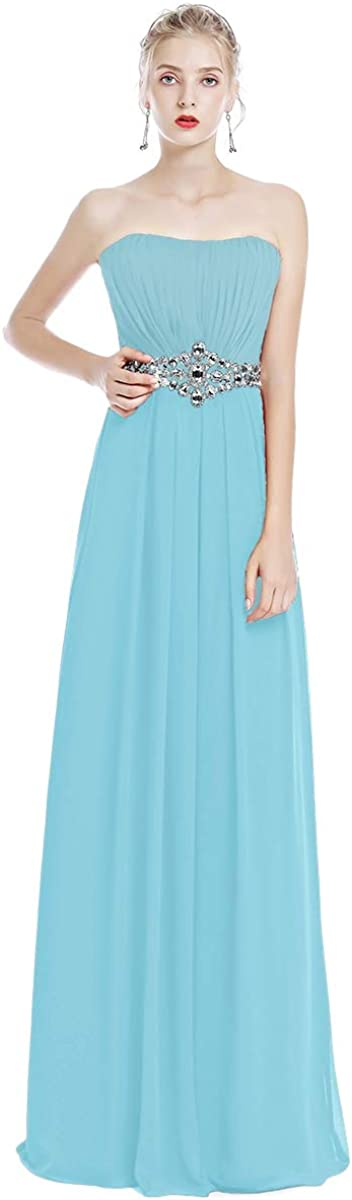OwlFay Women's online shopping Strapless Bridesmaid Detroit Mall Chif Long Dresses Rhinestone