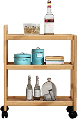 Serving Cart Trolley Tea Bar Contemporary Solid Wood Shelves Drink Liquor Rolling Rack Beverage Wine Furniture Kitchen Bathroom Trolley 58 x 28 x 73cm